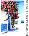 Watercolor drawing of a mediterranean house with a blooming mahogany tree 74791386