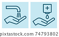 Wash hands and disinfect your hands sign 74793802