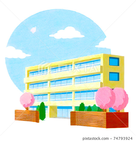 Simple and bright building and landscape illustration 74793924