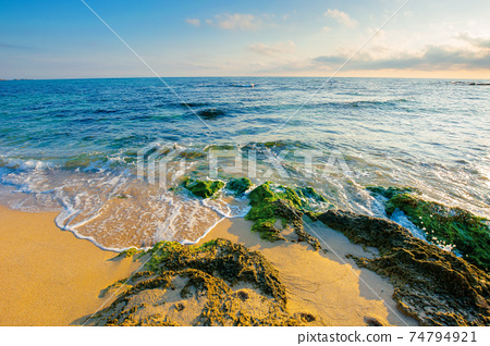 seascape on a sunny morning. summer vacation at the sea. water washes sandy beach with rocks. fluffy clouds on the sky 74794921