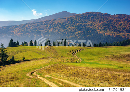 mountainous countryside in autumn. rural road through grassy pastures on hills rolling in to the distance. forest in colorful foliage. bright sunny day with bright blue sky 74794924