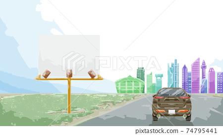 景觀圖的一輛汽車,通往城市的道路上運行 74795441
