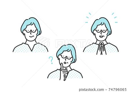 중간 세대의 여성의 표정 패턴 세트 소재 74796065