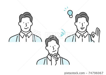 중간 세대의 남성의 표정 패턴 세트 소재 74796067