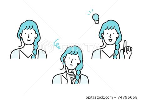 女性面部表情圖案設置素材 74796068