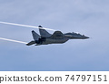 Moscow Russia Zhukovsky Airfield 31 August 2019: aerobatic team swifts MiG-29 perfoming demonstration flight of the international aerospace salon MAKS-2019 74797151
