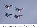 Moscow Russia Zhukovsky Airfield 31 August 2019: The Russian Knights Russkie Vityazi aerobatic team performs a demonstration flight with aerobatics figures of the international aerospace salon 74797155