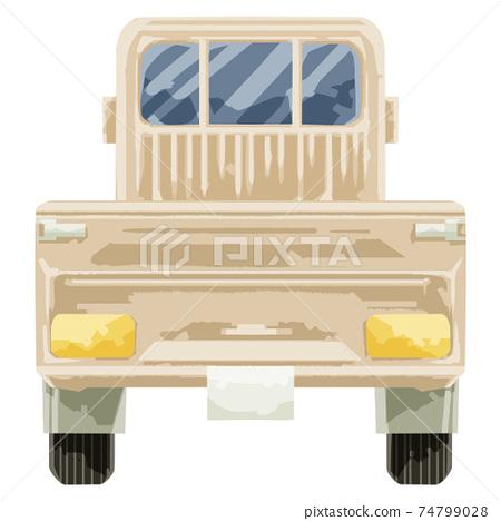 手繪水彩風格輕型卡車插圖(背面) 74799028