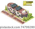 Vector isometric car park building 74799280
