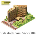 Vector isometric hotel building 74799304