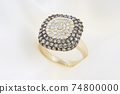 Yellow Gold Ring With Diamonds On Soft White Background 74800000