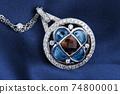 White Gold Pendant With  Diamonds, Blue And Smokey Topaz 74800001