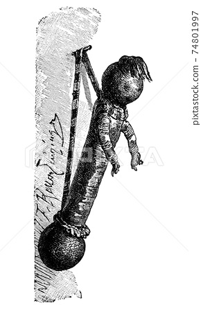 Child's Toy or Doll From Central Africa.History and Culture of Africa. Antique Vintage Illustration. 19th Century. 74801997