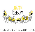 floral decoration silhouettes with eggs 74810616