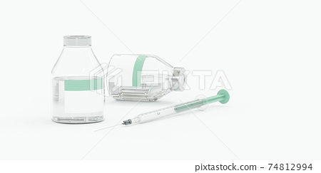 bottles with Covid-19 SARS-CoV-2 Corona Virus vaccine injection 3d render illustration 74812994