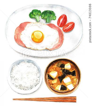 火腿和雞蛋,米飯和味mis湯(水彩插圖) 74813086