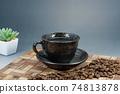 熱咖啡和咖啡豆 74813878