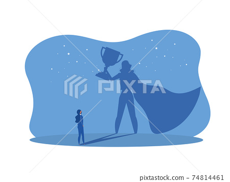 Businesswoman Watches his shadow with impower woman about Victory,Success, Leadership Career ConceptVector illustration. 74814461
