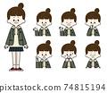 Female student facial expression set 74815194