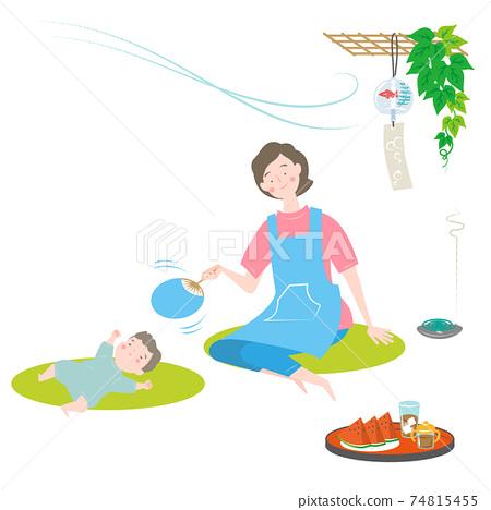 涼爽的婦女和嬰兒 74815455