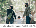 Family image of a couple walking hand in hand and raising children for parents and boys 74817076