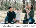 Image of a Japanese family playing with soap bubbles, a parent and child having a picnic in the park 74817145