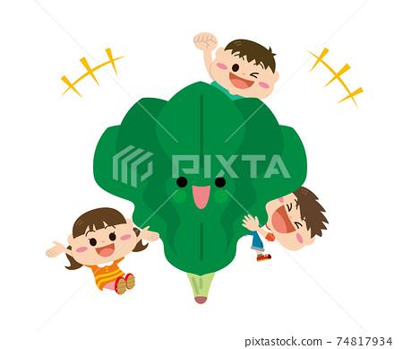 蔬菜/菠菜和兒童 74817934
