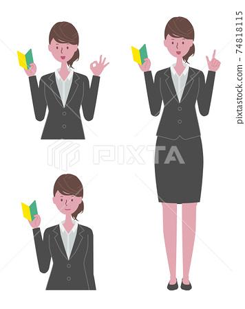 穿著黑色西裝的初學者標記的女人 74818115