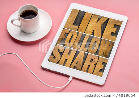 like, follow, share word abstract 74819654