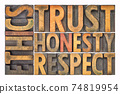 ethics, trust, honesty, respect word abstract in wood type 74819954