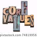 core values - word abstract in wood type 74819956