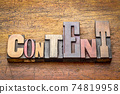content word abstract in wood type 74819958