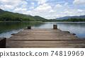 Panoramic view of Wooden bridge lake with Empty wooden floor. 74819969