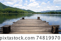 Panoramic view of Wooden bridge lake with Empty wooden floor. 74819970