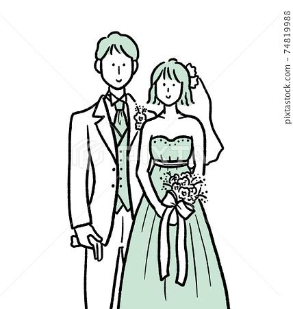 新娘和新郎例證 74819988