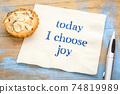 today I choose joy - text on napkin 74819989