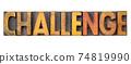 challenge word in vintage wood type 74819990