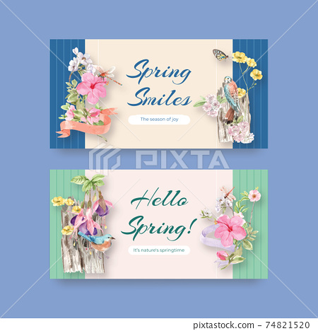 Twitter template with spring and bird concept design for social media and community watercolor illustration 74821520