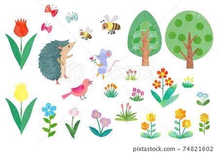 Spring illustrations material 74821602