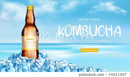 Kombucha bottle mockup ad banner, fresh tea drink 74821897
