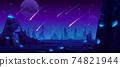 Meteor rain at night sky, neon space background 74821944