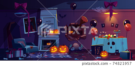 Abandoned room with Halloween party decoration 74821957