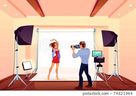 Studio photo shoot with model posing on backstage 74821964