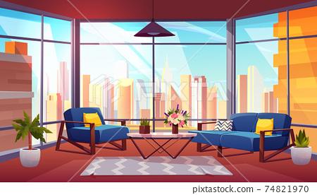 Hotel suite in skyscraper cartoon vector interior 74821970