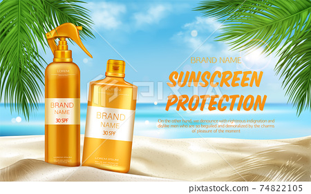 Sunscreen protection uv cosmetic banner, summer 74822105