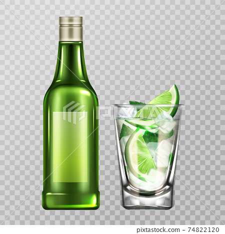 Mojito bottle and glass with liquor, lime and ice 74822120