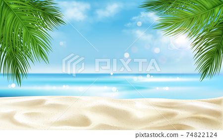 Sea beach with palm tree leaves background, summer 74822124