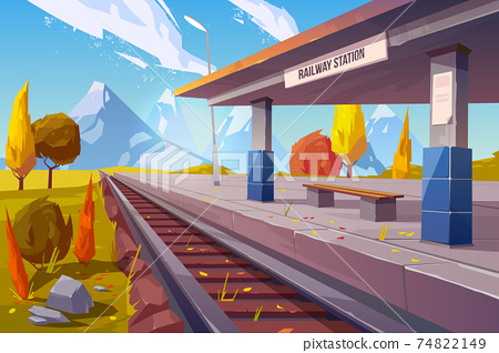 Railway station at mountains autumn landscape 74822149