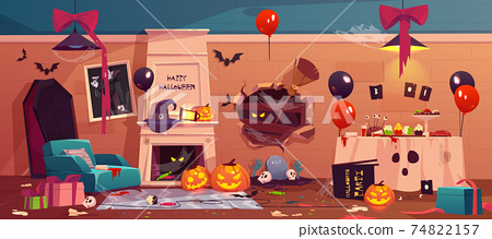 After party mess in Halloween decorated room, 74822157