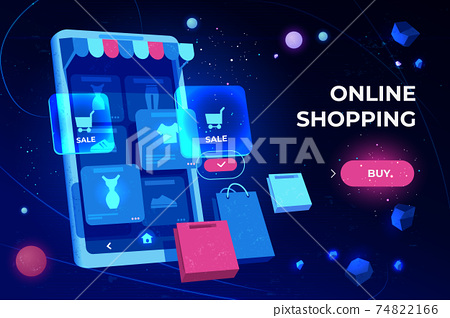 Online shopping landing page, smartphone screen 74822166